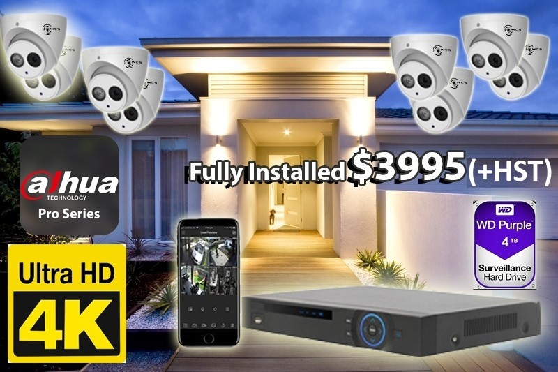 8 x 4K UtraHD Dahua Pro Series Cameras Installed *Home, small shop or office - $3,995 CAD