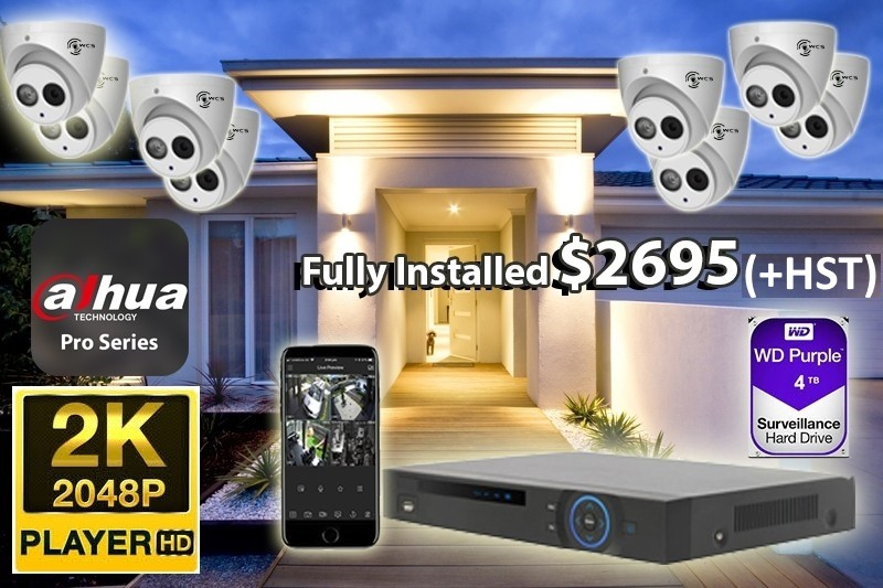 8 x 2K UtraHD Dahua Pro Series Cameras Installed *Home, small shop or office - $2,695 CAD