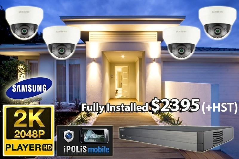 4 x 2K UltraHD Samsung WiseNet Cameras Installed *Home,small shop or office - $2,495 CAD