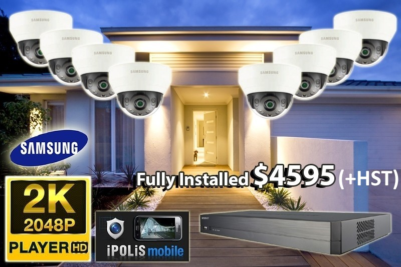 8 x 2K UltraHD Samsung WiseNet Cameras Installed *Home,small shop or office - $4,595 CAD