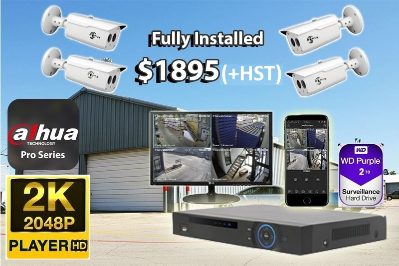 4 x 2K UltraHD Dahua Pro Series Cameras Installed *Small Warehouse or Factory - $1,895 CAD